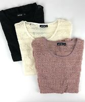 APT 9 Women's Lace Pullover Top Short Sleeve Stretch 3 Colors Size L NWT