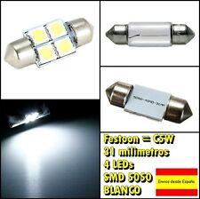 2X C5W festoon 4 LED SMD 5050 31mm blanco xenon coche auto interior matricula