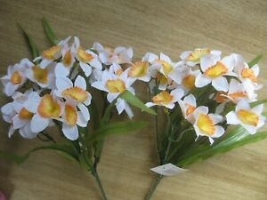 """2 x Artificial White/Orange Narcissus Bushes by Jeno 12"""" (30cm) tall"""
