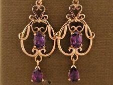 E040 Genuine 9ct SOLID Rose Gold NATURAL Rhodolite Garnet Filigree Drop Earrings