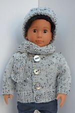 OUR GENERATION AMERICAN GIRL BOY GREY COAT, SCRAF & HAT SET CLOTHES 18INCH  DOLL