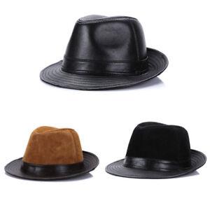 Men's 100% Real Genuine Sheepskin Leather Vintage Cowboy Cap Casual Fedora Hat