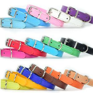 Dog Collar Pet Puppy Adjustable Neck Strap PU Leather pink blue red black purple