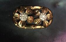 Vintage Gold Tone World War Ii Double Daisy Rhinestone Flower Brooch Pin