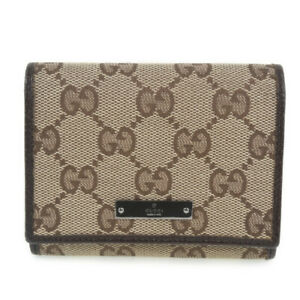 GUCCI 131886 name card holder Card Case Brown GG canvas unisex