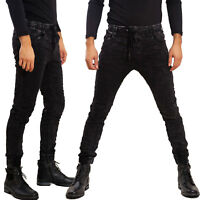 Pantaloni uomo jeans scuri laccio slim fit skinny TOOCOOL casual sportivi M1140