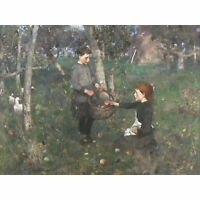Guthrie Children Apple Orchard Painting Large Canvas Art Print