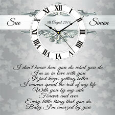 Personalised Lonestar Amazed Lyrics Wedding Day Clock Present Chic Gift Marriage