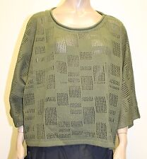 TRANSPARENTE EURO PLUS COTTON HOLEY CROPPED PULLOVER SWEATER OLIVE O/S 28 $240