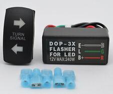ATV UTV Turn Signal Kit Rocker Switch Blinker SPDT Green LED's With Flasher