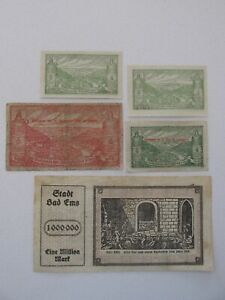 1918/19/23 Bad Ems 10/50 Pfennig and 1 Mil Mark Notes Lot of 5