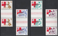 Tuvalu 3343 - 1988 Red Cross SPECIMEN set of 4 GUTTER PAIRS  unmounted mint