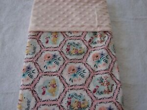 Pooh & Friends Cotton Front Pink Minky Reversible Baby Blanket Handmade