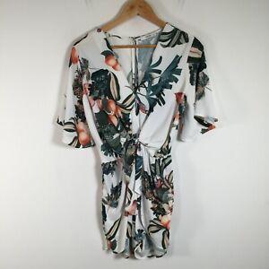 Sheike womens playsuit romper size 8 white floral short sleeve V neck