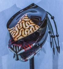 predator motorcycle helmet helmet v5 brains airbrushed green fiber optic dreads