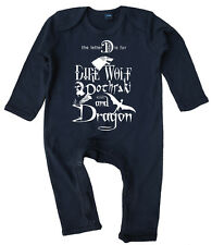 """Game of Thrones """"D is for Dire Wolf Dothraki Dragon"""" Baby Romper Suit"""