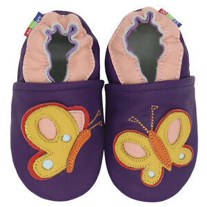 carozoo colorful butterfly purple 0-6m new soft sole leather baby shoes