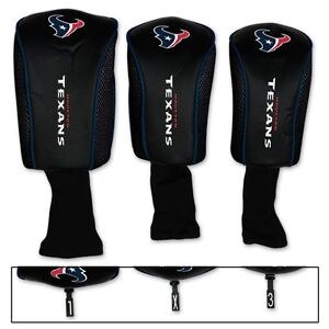 HOUSTON TEXANS THREE-PACK LONG NECK GOLF HEAD COVERS NEW FREE SHIPPING WINCRAFT