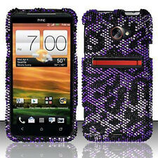 For HTC EVO 4G LTE Crystal Diamond BLING Hard Case Phone Cover Purple Cheetah