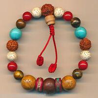 Damen Holzkette Halskette Holzperlen Naturschmuck Braun Kette J5 6142
