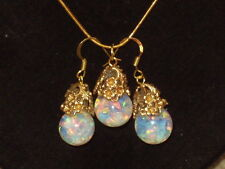 OPAL PENDANT NECKLACE EARRING SET  FLOATING OPAL SNOW GLOBE GOLD FILLED