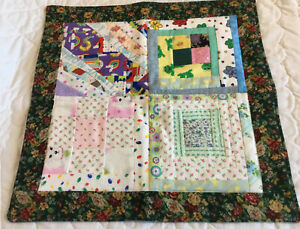 Patchwork Quilt Table Topper or Doll Crib Quilts, Flannels, Florals, Frog Prints