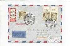 Bund / Mi.-Nr.  494 (3) waag. OR-Paar + Einzelmarke als MeF auf Luftp-E.-Brief