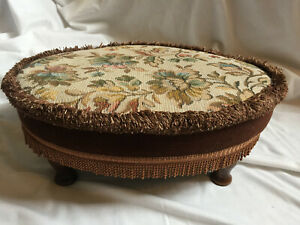 VINTAGE Oval Brown Floral Tapestry Wooden Legs Footstool with Tassels