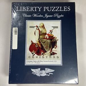 """Liberty Wooden Jigsaw Puzzle """"Christmas: Santa with Elves"""" 395 Pieces NEW SEALED"""