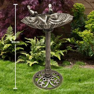 Vogel Tränke Antik Stil Garten Deko bronze Landhaus Vogel-Bad Muschel Schale