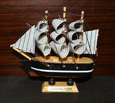 "4x Ship 4.4"" Tall Detailed Wooden Boat Model Nautical Home Decor Collectible -B"