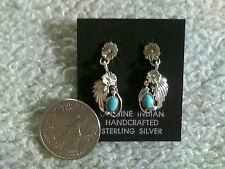 2 Flowers & a Leaf in Sterling Silver w/Turquoise Earrings (post Style)