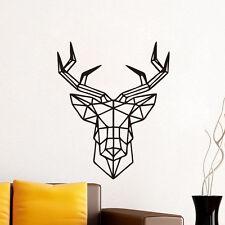 Géométrique cerf autocollant Sticker mural noir muraux déco décoration chambre