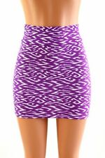 SMALL Purple Tribal Stretchy Spandex Bodycon Mini Skirt Ready To Ship!