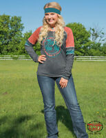 Cowgirl Tuff Women's Charcoal & Bright Coral Never Give Up Athletic Tee 100219