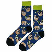 NWT Tree Sloth Dress Socks Novelty Men 8-12 Blue Fun Sockfly