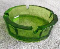 "Vintage Mid Century Heavy Textured bottom MCM Green Glass 6"" Ashtray, Blenko?"