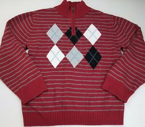 Boys GYMBOREE burgundy red black argyle cotton sweater 10-12 Christmas holiday