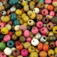 Wooden Seed Beads, 6 x 5mm (30g) Craft Children's Beads , Mixed Colours W227
