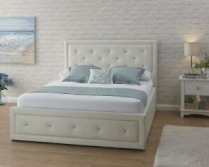 Hollywood White Faux Leather End Lift Ottoman Bed Frame - 3 Sizes Available