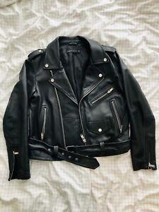 Zara Women's Leather Jacket Size Large With Adjustable Belt Retail $70