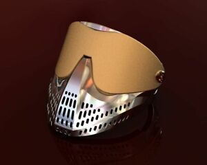 Paintball Mask Hip Hop Men's Yellow & White Plated in Sterling Silver S925