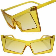 Retro Slanted Rectangle Funky Exotic Cat Eye Yellow Color Tinted Sunglasses