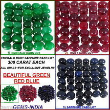300 CT EACH ~ CABOCHON RED RUBY, GREEN EMERALD BLUE SAPPHIRE LOOSE GEMSTONES LOT