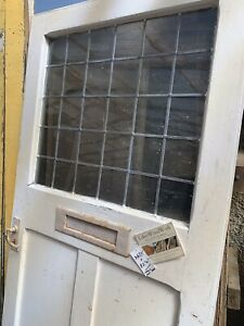 "LARGE 36"" - RECLAIMED - HEAVY PINE - LEADED GLASS  -  FRONT DOOR  1920'S / 1940s"