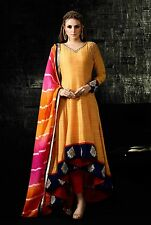 Pakistni Eid Special Designer Yellow Georgette Up & Down Cut Anarkali Long Suit