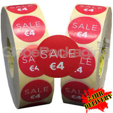 2000 x 'SALE €4' EURO Retail Self Adhesive Shop Price Labels Stickers 35mm