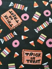 Trick Or Treat Halloween Candy corn Cotton Fabric BTHY Pink Orange Black Yellow