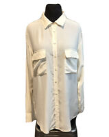 EQUIPMENT 'Signature' Silk Blouse Ivory Button Down Sz XS Style Q23-E035