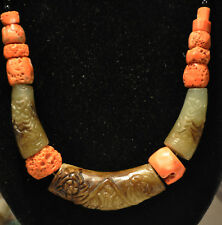 Antique Chinese Coral and Quartz Carved Bead Necklace